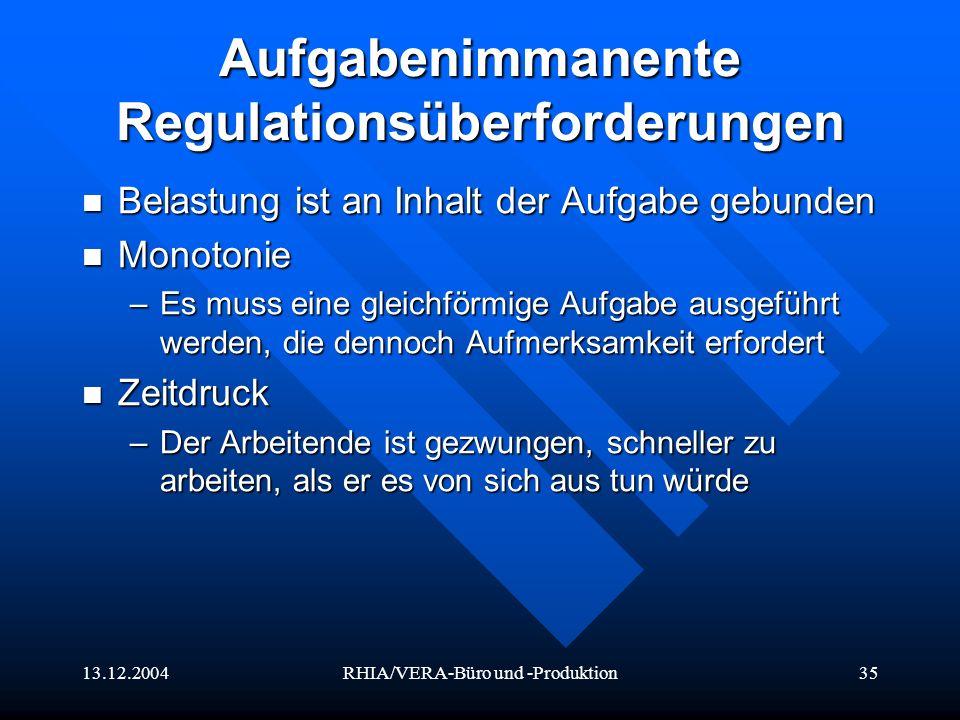 Aufgabenimmanente Regulationsüberforderungen