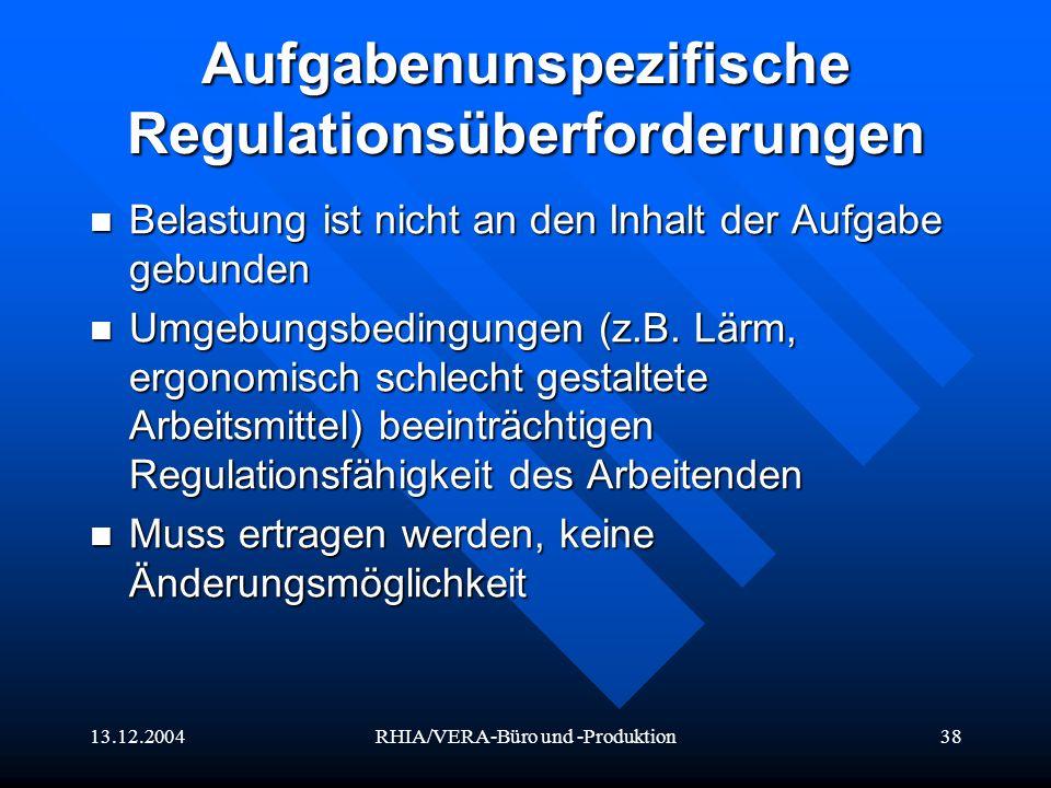 Aufgabenunspezifische Regulationsüberforderungen