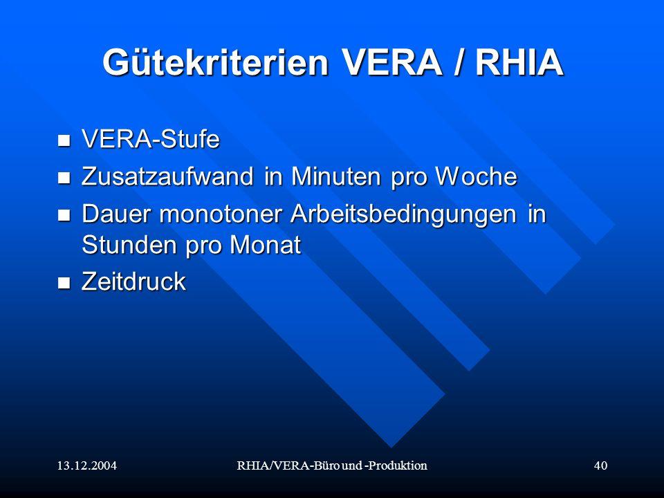 Gütekriterien VERA / RHIA