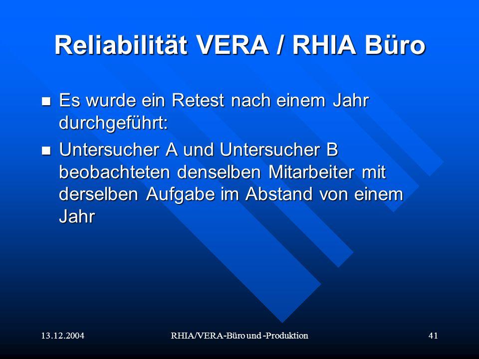 Reliabilität VERA / RHIA Büro