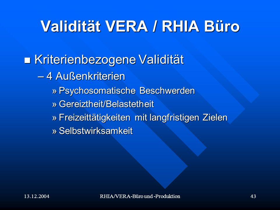 Validität VERA / RHIA Büro