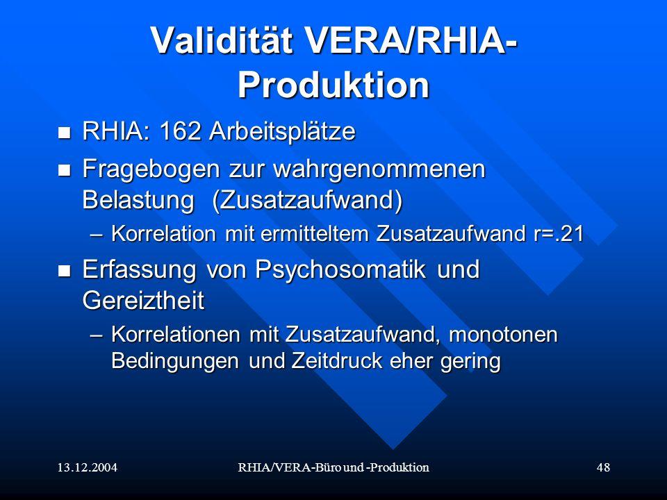 Validität VERA/RHIA-Produktion
