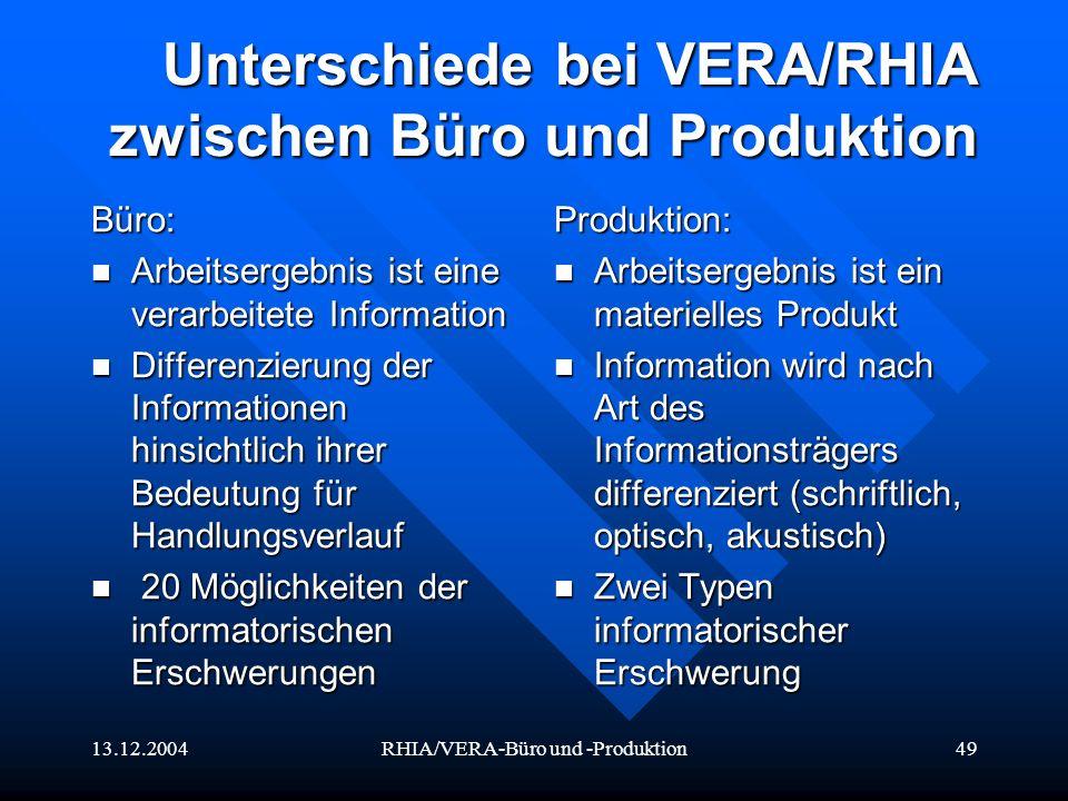 Unterschiede bei VERA/RHIA zwischen Büro und Produktion