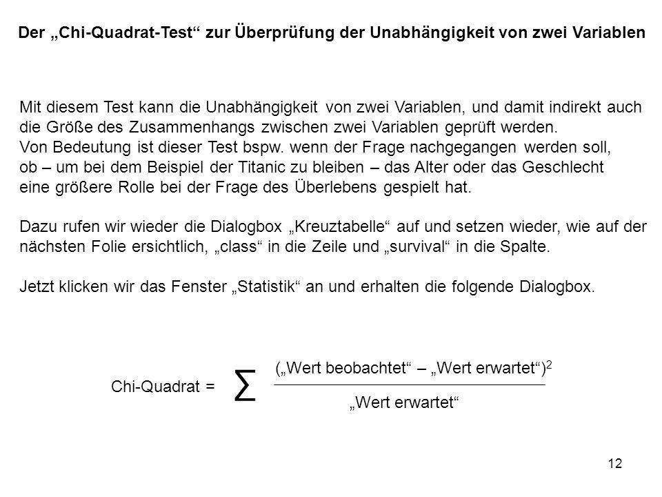 """Der """"Chi-Quadrat-Test zur Überprüfung der Unabhängigkeit von zwei Variablen"""