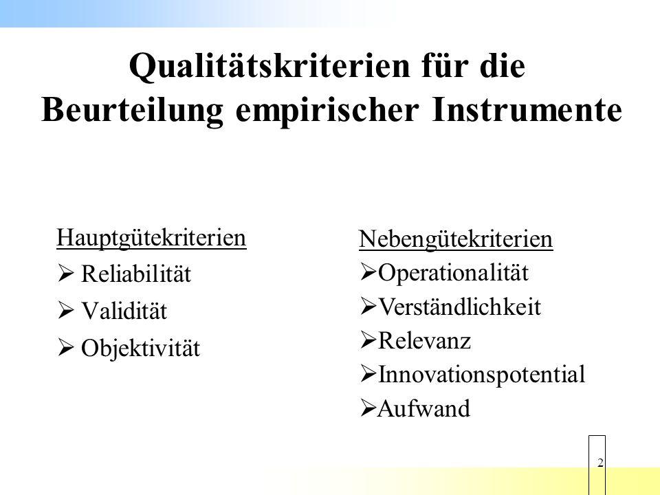 Qualitätskriterien für die Beurteilung empirischer Instrumente