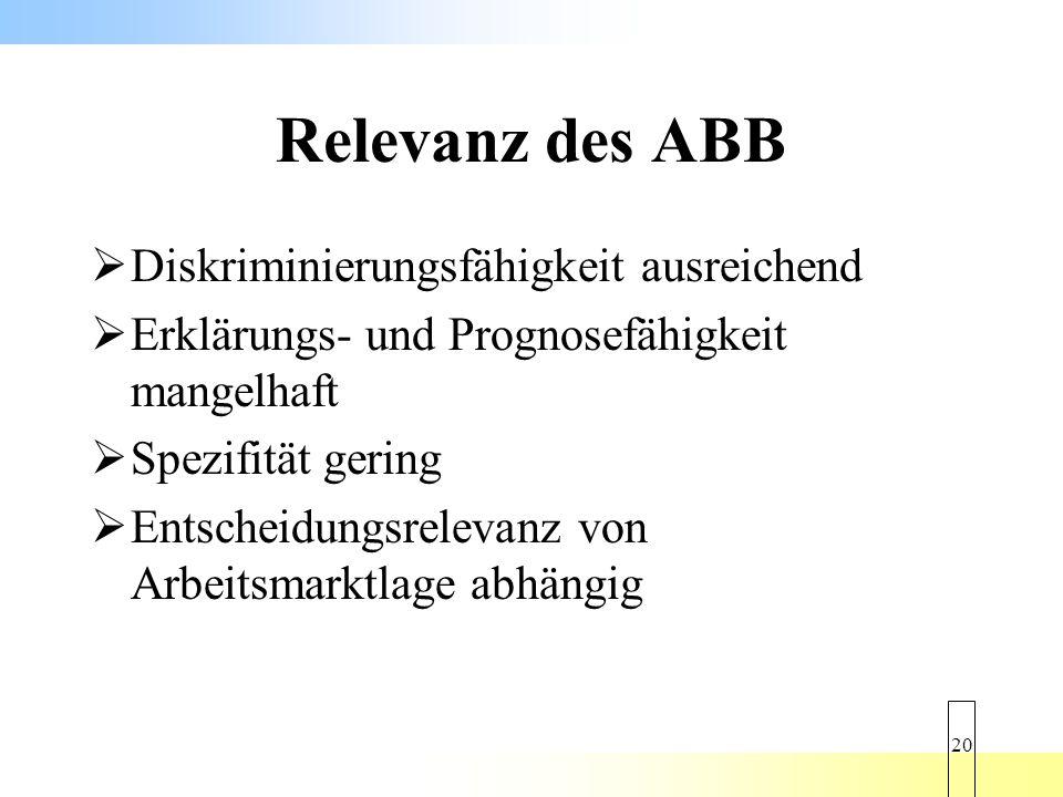 Relevanz des ABB Diskriminierungsfähigkeit ausreichend