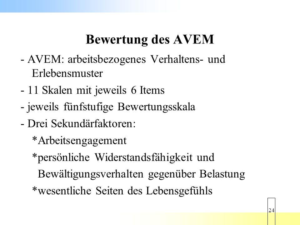 Bewertung des AVEM - AVEM: arbeitsbezogenes Verhaltens- und Erlebensmuster. - 11 Skalen mit jeweils 6 Items.