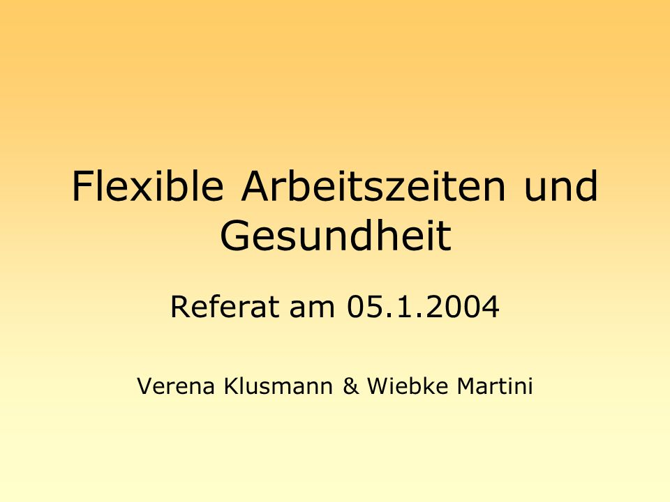 Flexible Arbeitszeiten und Gesundheit