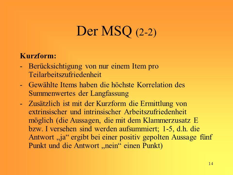 Der MSQ (2-2) Kurzform: Berücksichtigung von nur einem Item pro Teilarbeitszufriedenheit.