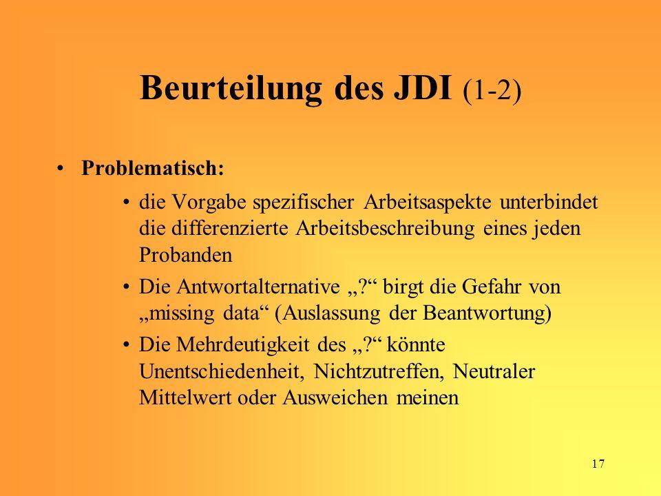 Beurteilung des JDI (1-2)