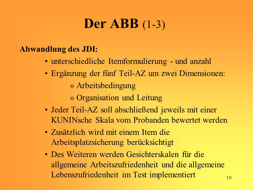 Der ABB (1-3) Abwandlung des JDI: