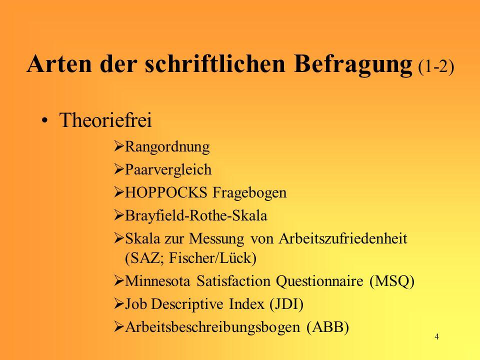 Arten der schriftlichen Befragung (1-2)