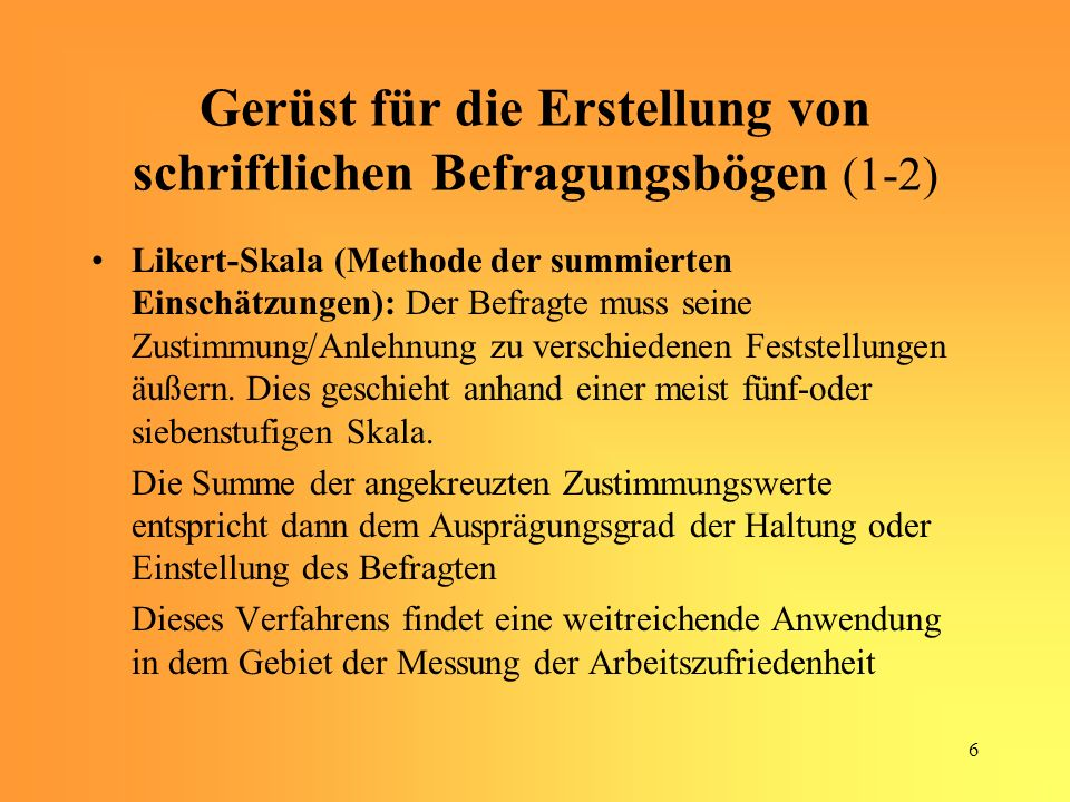 Gerüst für die Erstellung von schriftlichen Befragungsbögen (1-2)