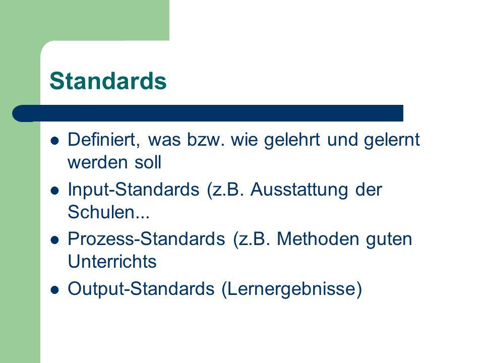 Standards Definiert, was bzw. wie gelehrt und gelernt werden soll