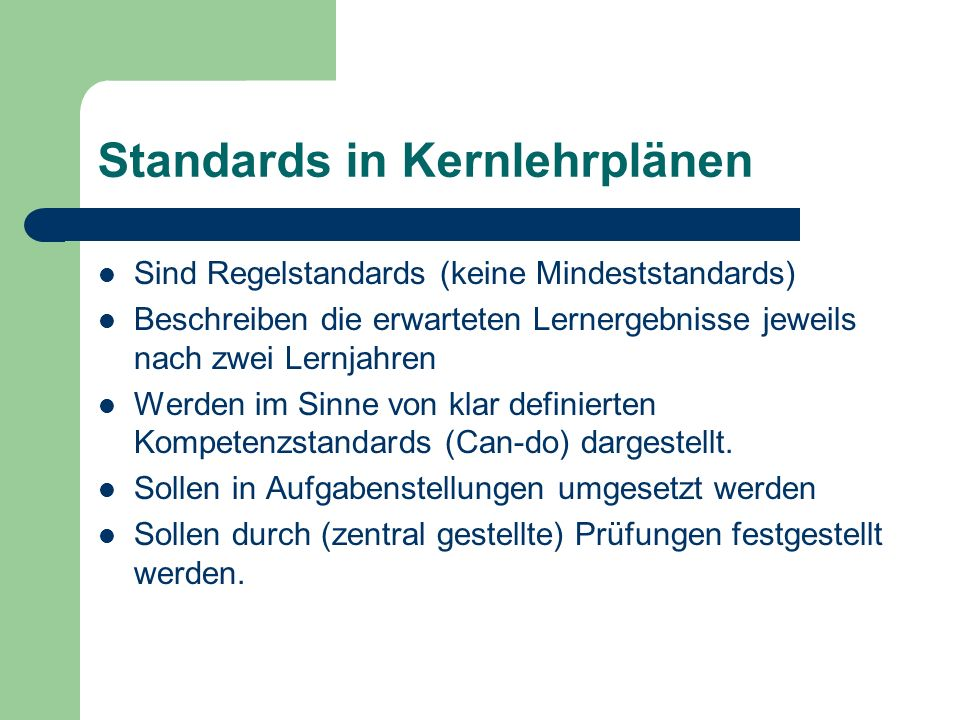 Standards in Kernlehrplänen