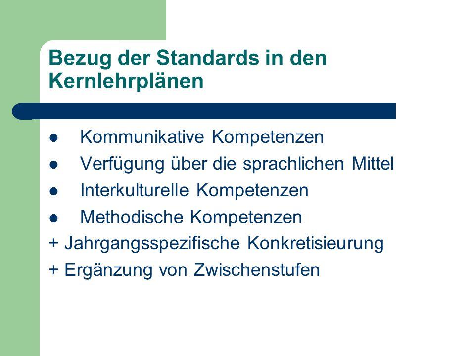 Bezug der Standards in den Kernlehrplänen