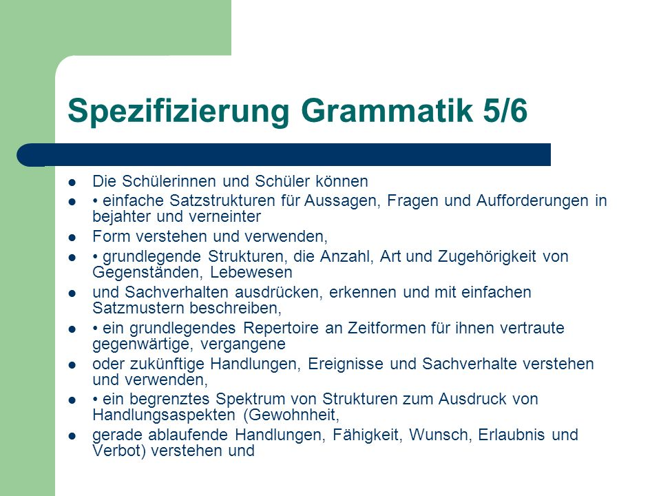 Spezifizierung Grammatik 5/6