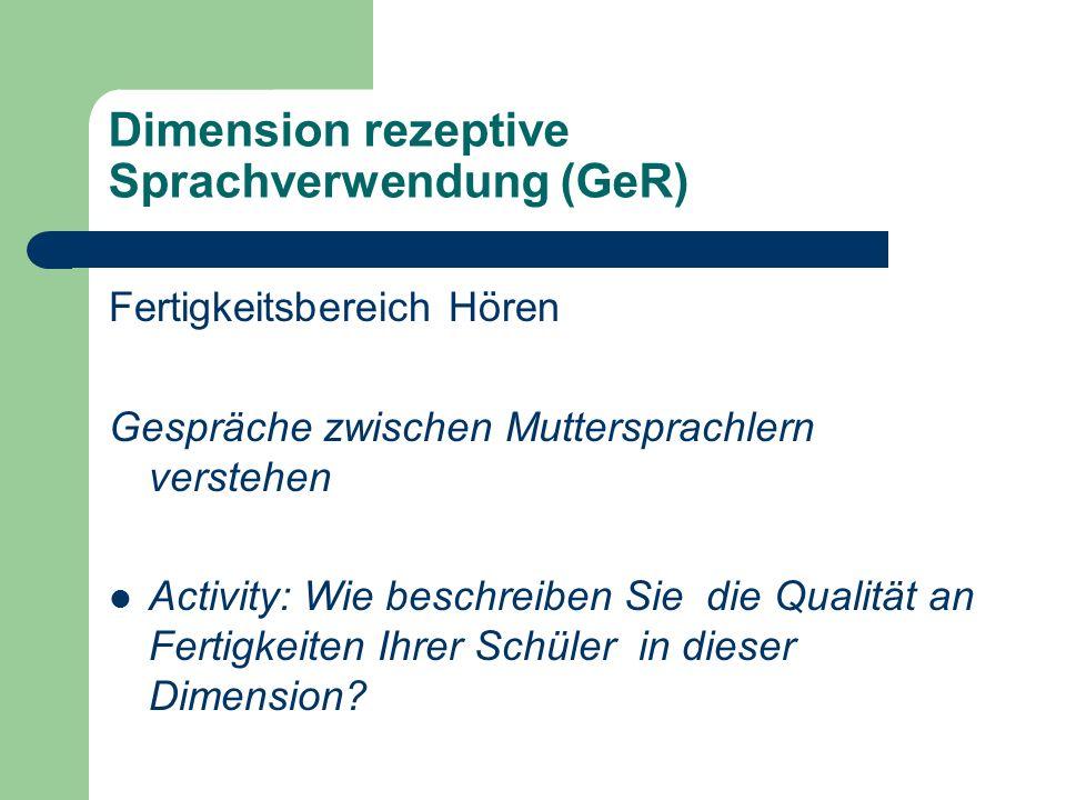 Dimension rezeptive Sprachverwendung (GeR)
