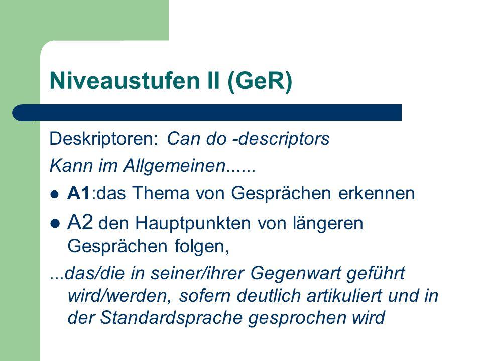 Niveaustufen II (GeR) Deskriptoren: Can do -descriptors. Kann im Allgemeinen...... A1:das Thema von Gesprächen erkennen.