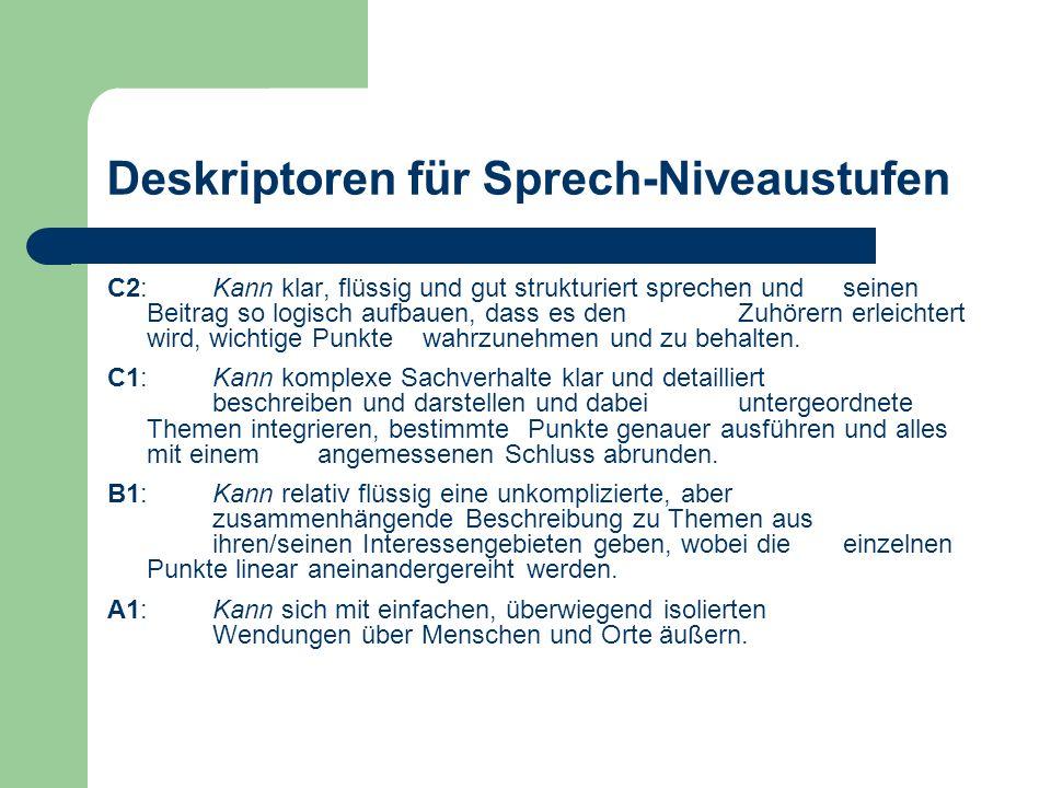 Deskriptoren für Sprech-Niveaustufen
