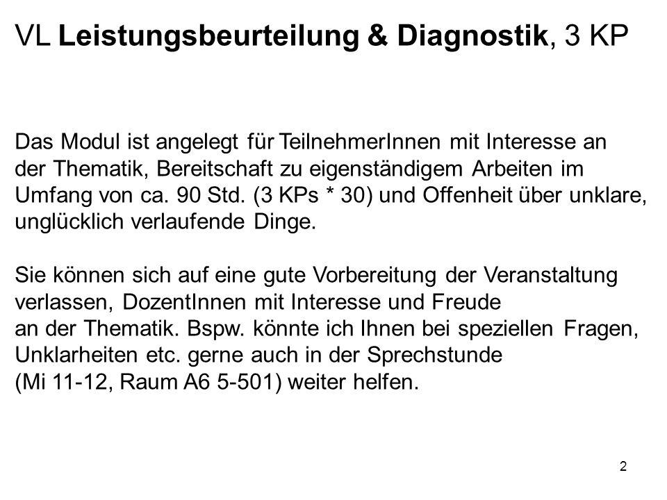 VL Leistungsbeurteilung & Diagnostik, 3 KP