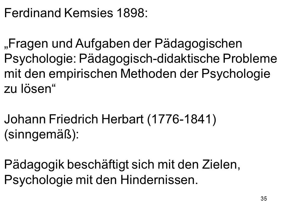 """Ferdinand Kemsies 1898: """"Fragen und Aufgaben der Pädagogischen. Psychologie: Pädagogisch-didaktische Probleme."""