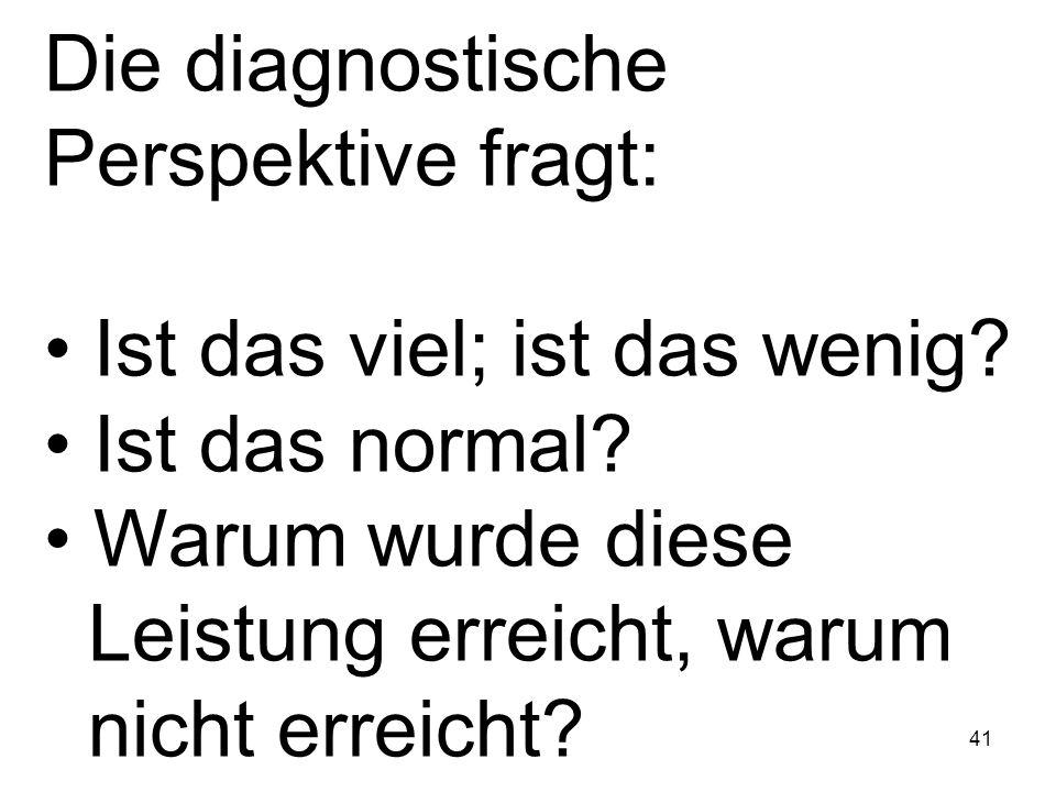 Die diagnostische Perspektive fragt:
