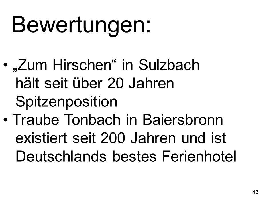 """Bewertungen: """"Zum Hirschen in Sulzbach hält seit über 20 Jahren Spitzenposition."""