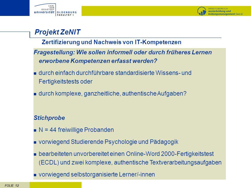 Projekt ZeNIT Zertifizierung und Nachweis von IT-Kompetenzen