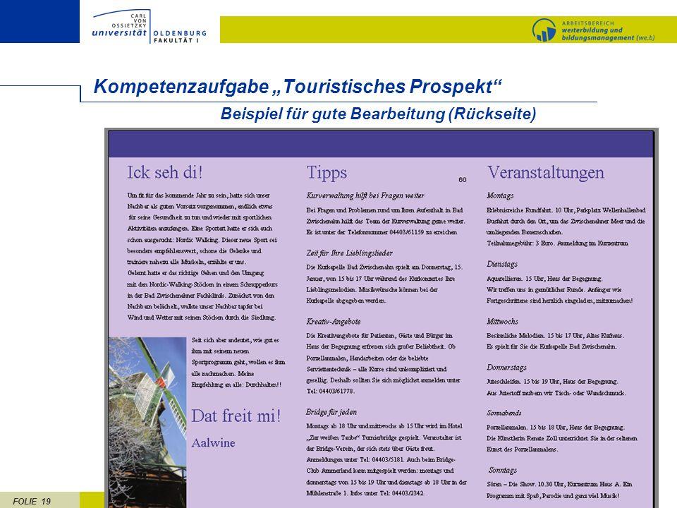 """Kompetenzaufgabe """"Touristisches Prospekt"""