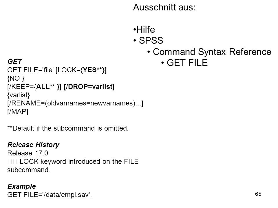 Command Syntax Reference GET FILE
