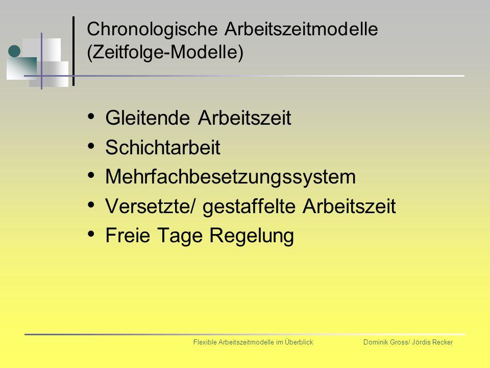 Chronologische Arbeitszeitmodelle (Zeitfolge-Modelle)