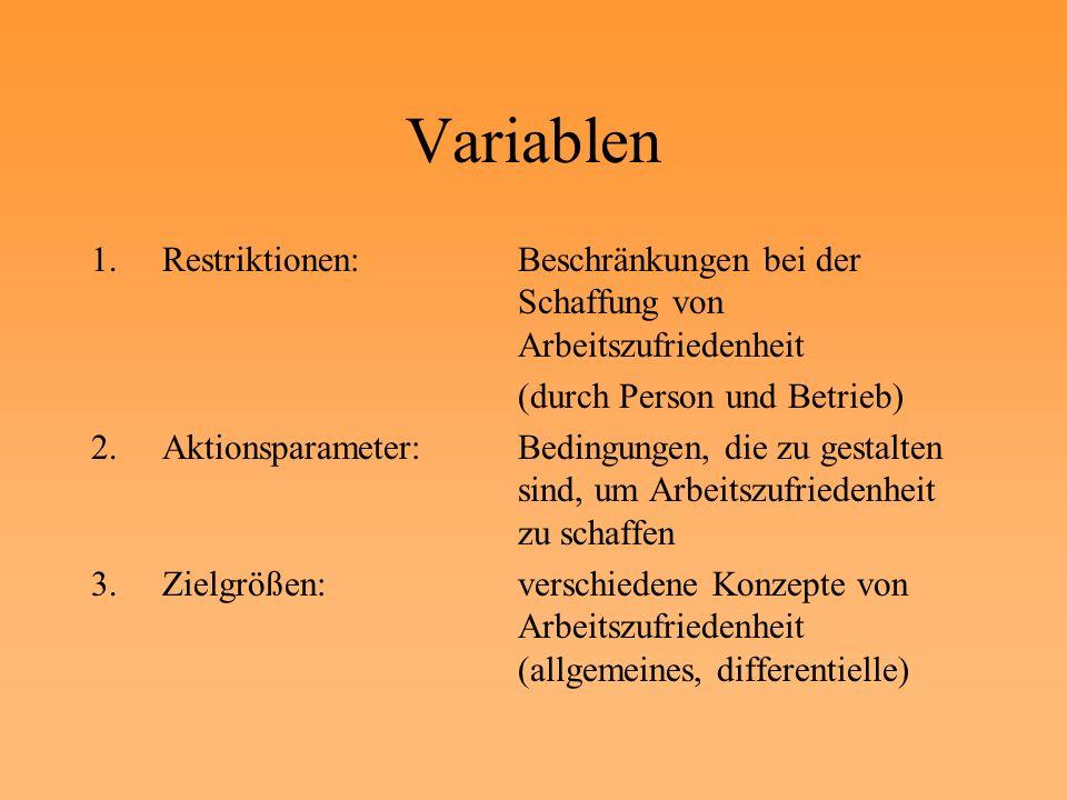 Variablen Restriktionen: Beschränkungen bei der Schaffung von Arbeitszufriedenheit. (durch Person und Betrieb)