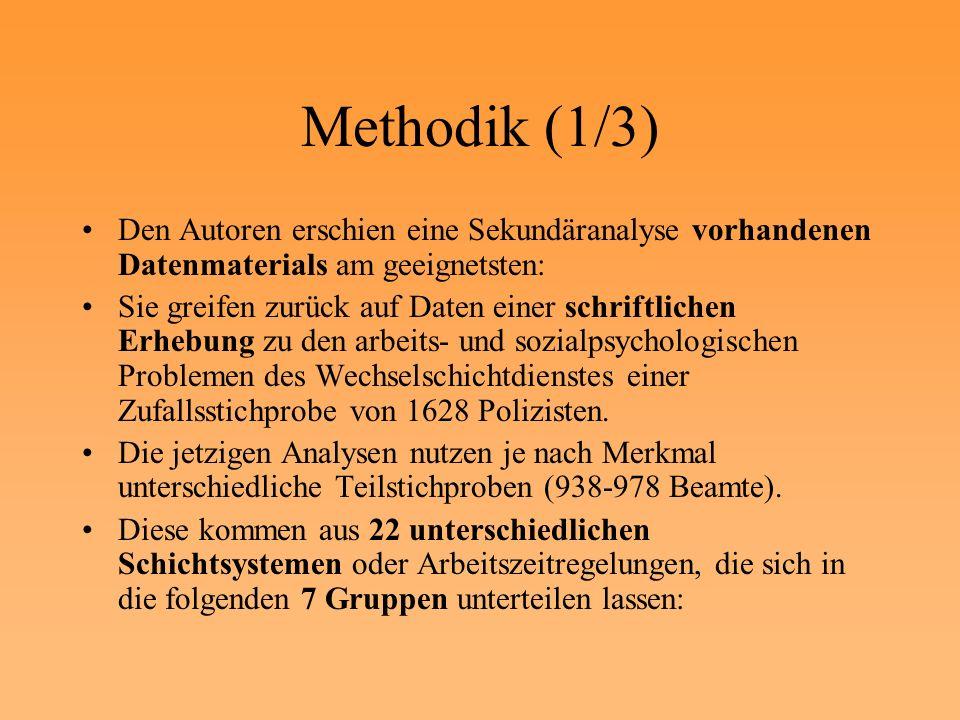 Methodik (1/3) Den Autoren erschien eine Sekundäranalyse vorhandenen Datenmaterials am geeignetsten: