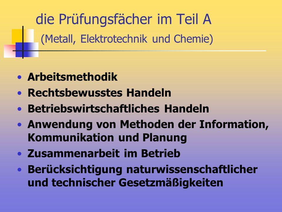 die Prüfungsfächer im Teil A (Metall, Elektrotechnik und Chemie)
