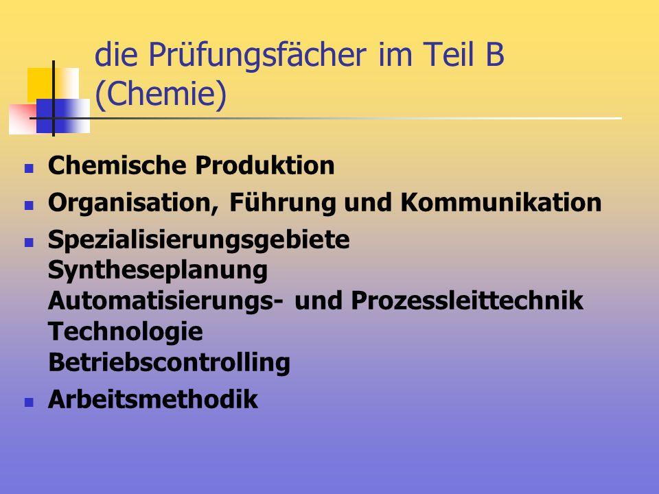 die Prüfungsfächer im Teil B (Chemie)
