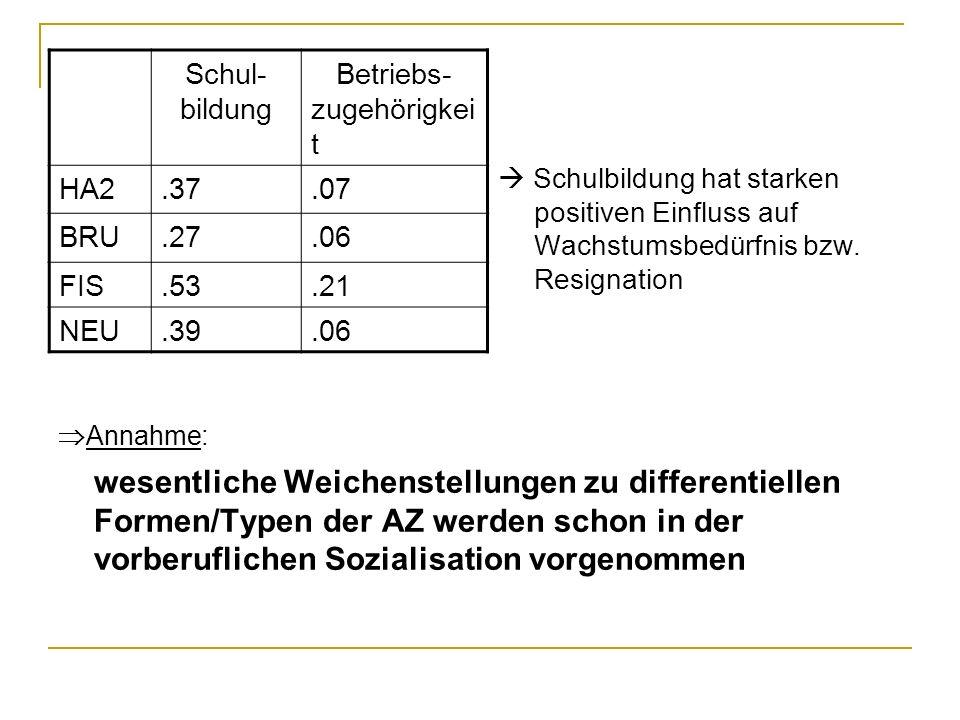 Schul-bildung. Betriebs- zugehörigkeit. HA2. .37. .07. BRU. .27. .06. FIS. .53. .21. NEU. .39.