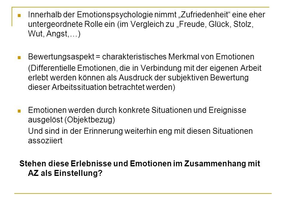 """Innerhalb der Emotionspsychologie nimmt """"Zufriedenheit eine eher untergeordnete Rolle ein (im Vergleich zu """"Freude, Glück, Stolz, Wut, Angst,…)"""