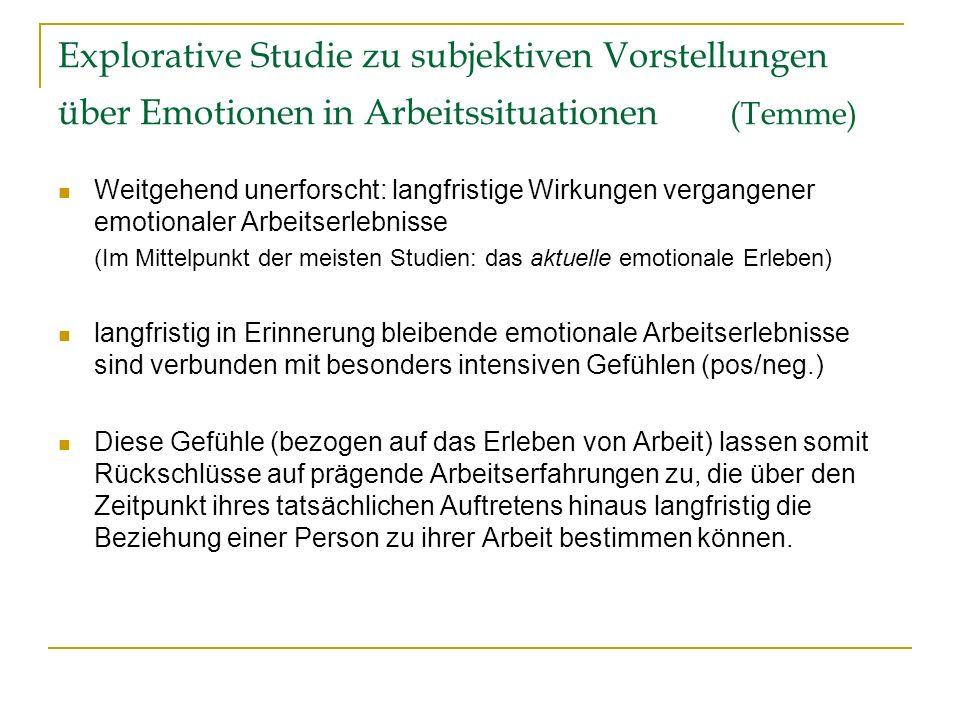 Explorative Studie zu subjektiven Vorstellungen über Emotionen in Arbeitssituationen (Temme)