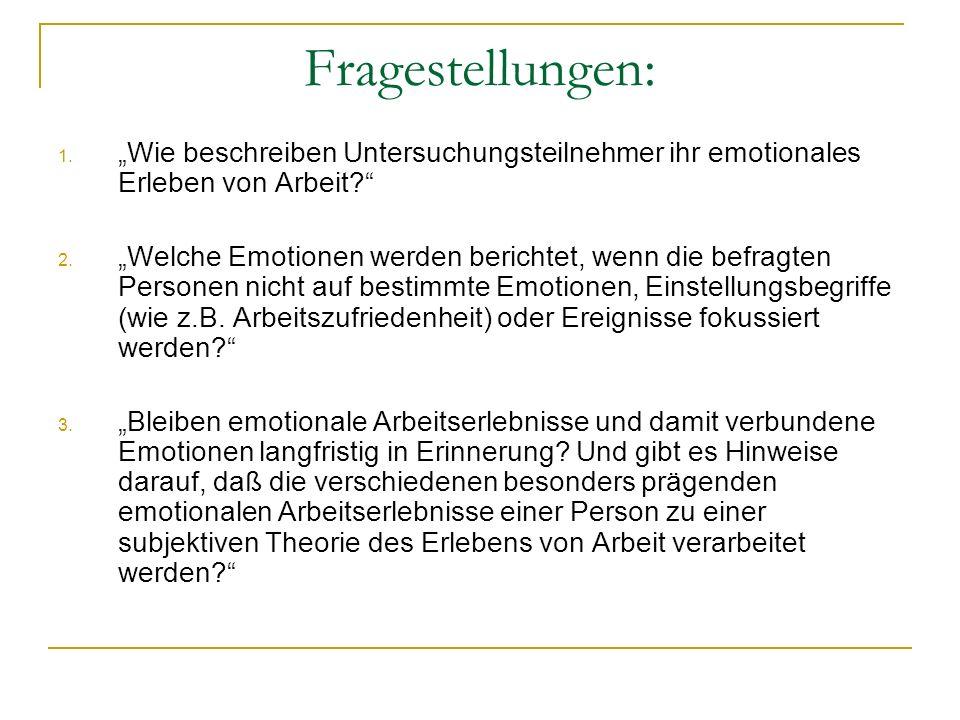 """Fragestellungen: """"Wie beschreiben Untersuchungsteilnehmer ihr emotionales Erleben von Arbeit"""