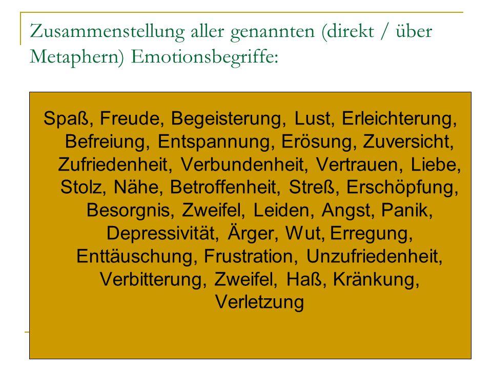 Zusammenstellung aller genannten (direkt / über Metaphern) Emotionsbegriffe: