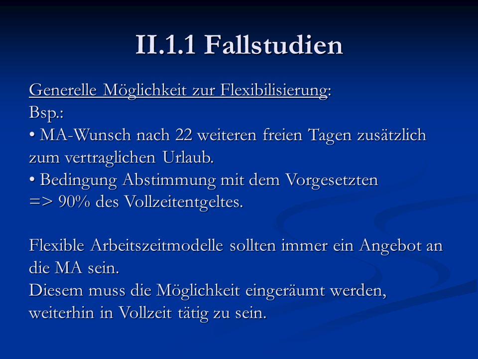 II.1.1 Fallstudien Generelle Möglichkeit zur Flexibilisierung: Bsp.: