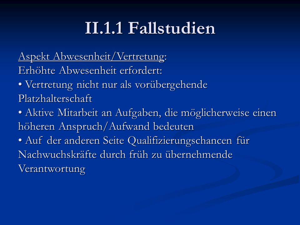 II.1.1 Fallstudien Aspekt Abwesenheit/Vertretung: