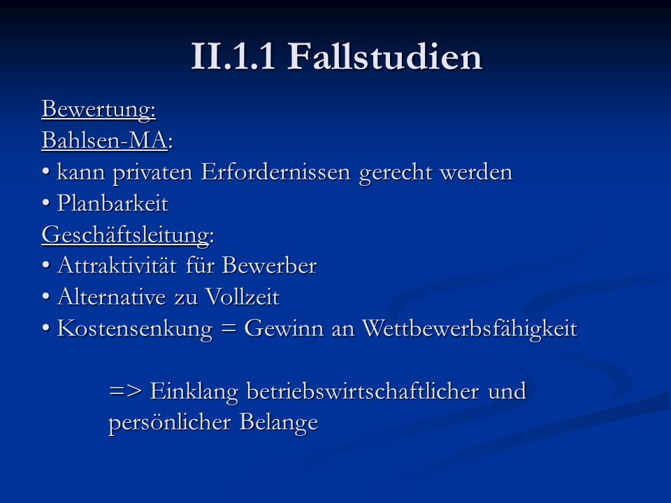 II.1.1 Fallstudien Bewertung: Bahlsen-MA: