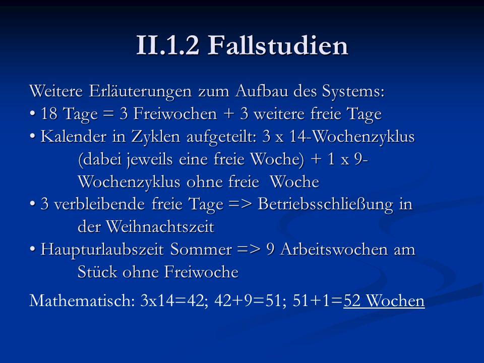II.1.2 Fallstudien Weitere Erläuterungen zum Aufbau des Systems: