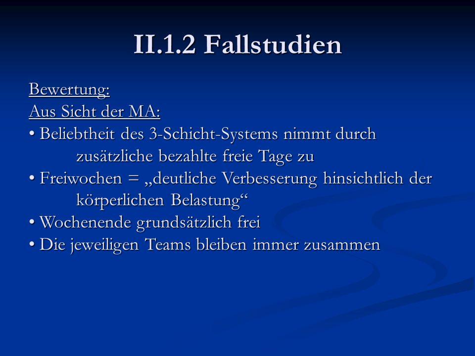 II.1.2 Fallstudien Bewertung: Aus Sicht der MA:
