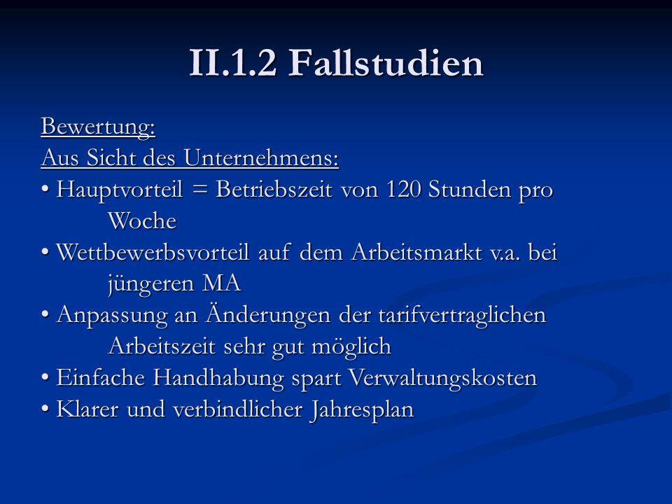 II.1.2 Fallstudien Bewertung: Aus Sicht des Unternehmens: