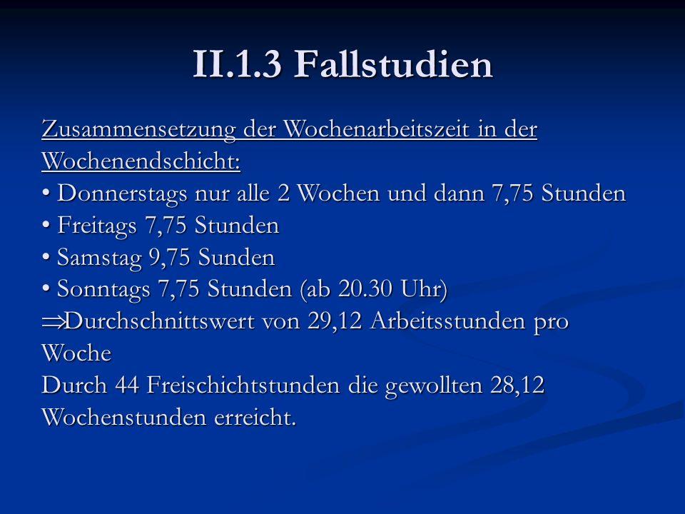 II.1.3 Fallstudien Zusammensetzung der Wochenarbeitszeit in der Wochenendschicht: Donnerstags nur alle 2 Wochen und dann 7,75 Stunden.