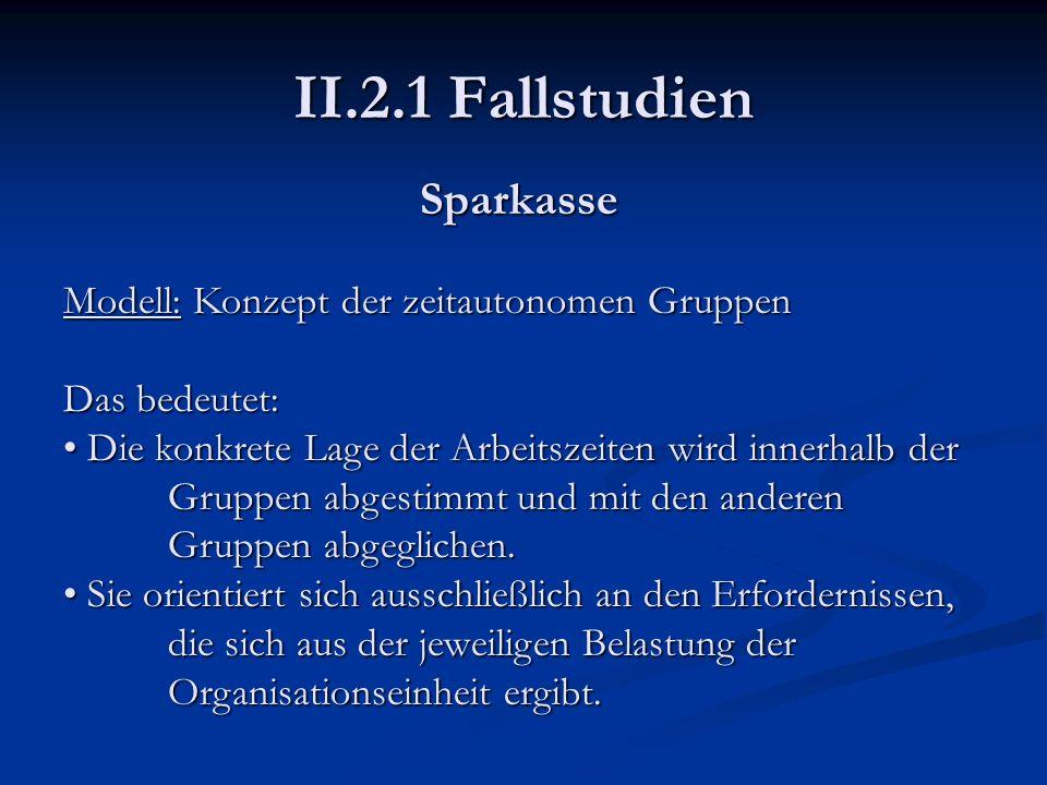 II.2.1 Fallstudien Sparkasse Modell: Konzept der zeitautonomen Gruppen