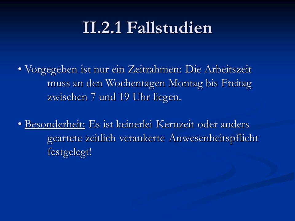 II.2.1 Fallstudien Vorgegeben ist nur ein Zeitrahmen: Die Arbeitszeit muss an den Wochentagen Montag bis Freitag zwischen 7 und 19 Uhr liegen.